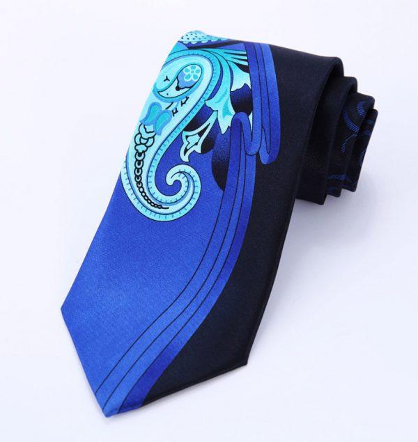 Luxusná pánska kravata v modro-čiernom prevedení