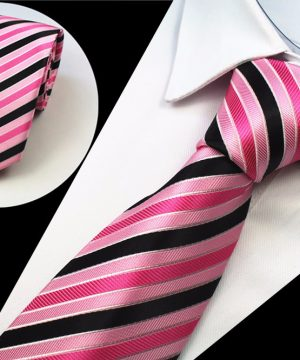 Spoločenská pánska kravata s ružovo čiernym vzorom