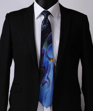 Výstredná pánska kravata v modro-čiernom prevedení