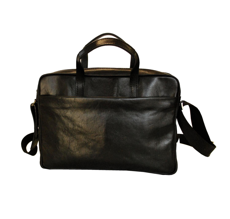 33bb75038f Kožená elegantná taška na notebook v čiernej farbe