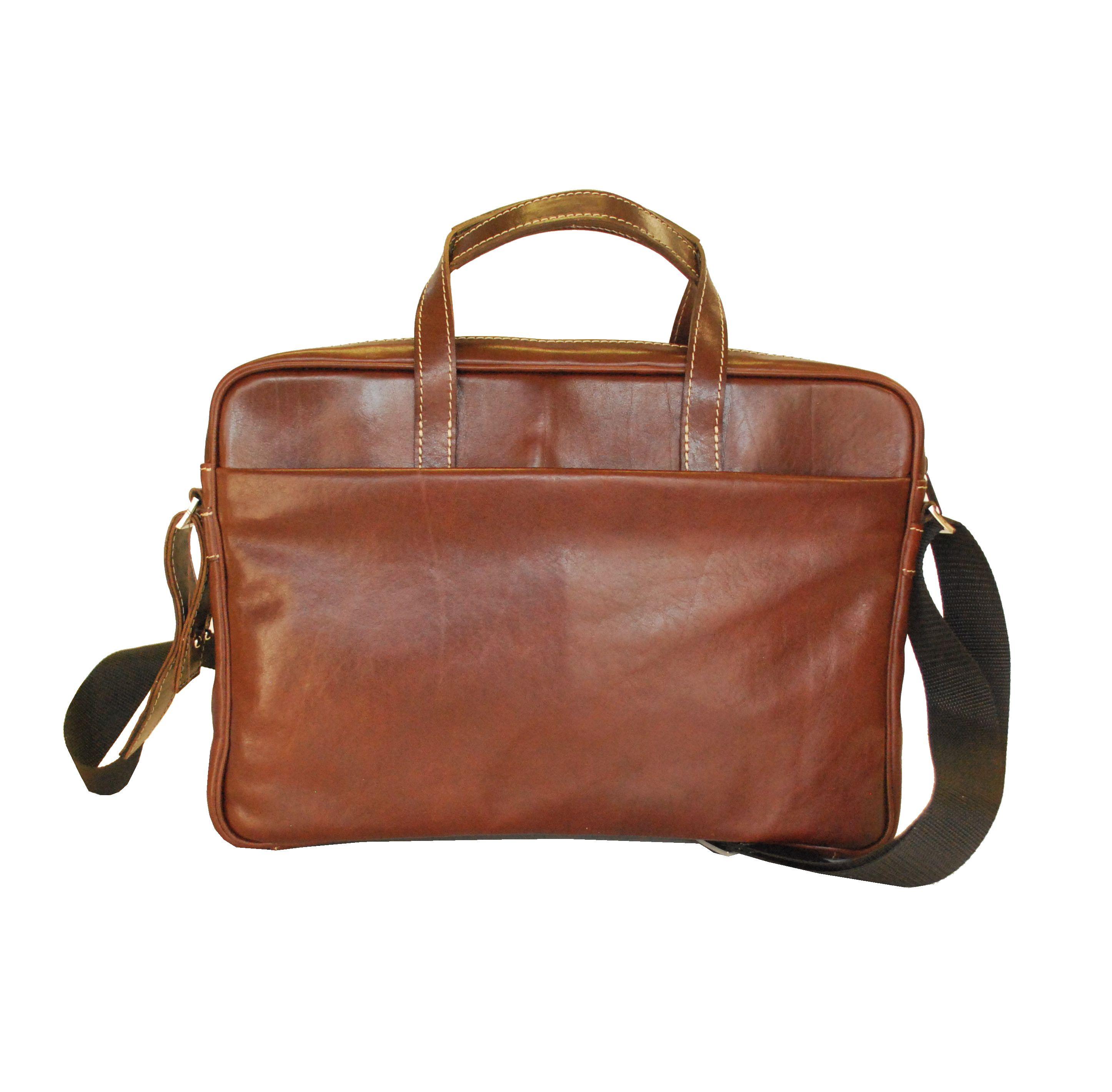 8c1bdde094 Kožená elegantná taška na notebook v hnedej farbe