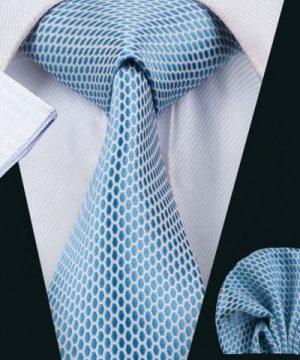 Elegantný kravatový set - kravata + manžety + vreckovka, vzor 1