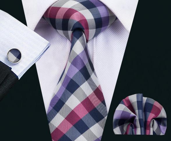 Elegantný kravatový set - kravata + manžety + vreckovka, vzor 3