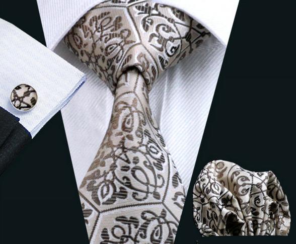 Elegantný kravatový set - kravata + manžety + vreckovka, vzor 4