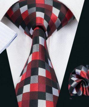 Elegantný kravatový set - kravata + manžety + vreckovka, vzor 5
