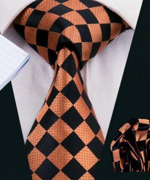 Elegantný kravatový set - kravata + manžety + vreckovka, vzor 6