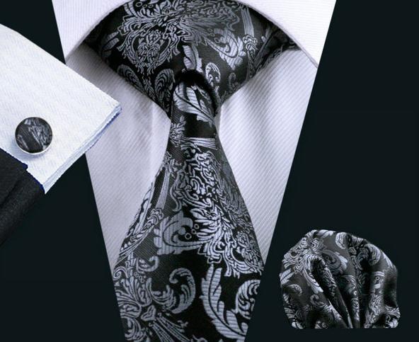 Elegantný kravatový set - kravata + manžety + vreckovka, vzor 7