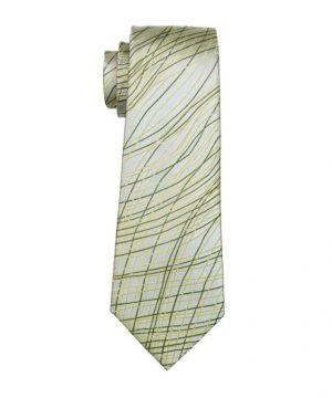 Pánska hodvábna kravata v sivej farbe so zeleno-žltými čiarami