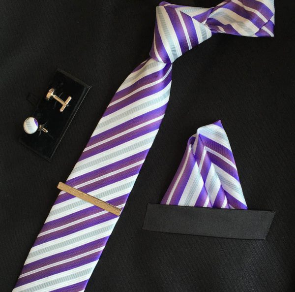 Veľká kravatová sada 05 - kravata+manžetové gombíky+spona+vreckovka