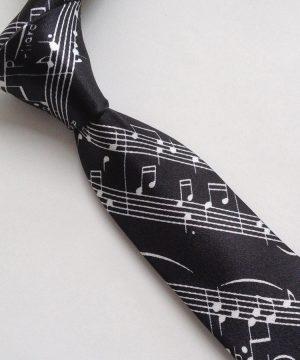 Luxusná tmavá pánska viazanka s hudobným motívom