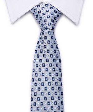 Kvalitná pánska kravata v modrej farbe so štvorčekmi