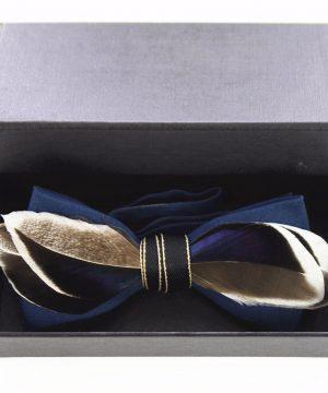 Luxusný pánsky motýlik z pierok, modro-hnedý