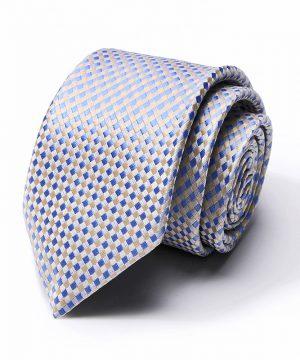 Kvalitná pánska kravata v modro-žltej farbe so vzorom