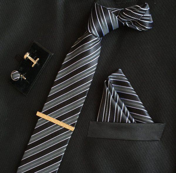Veľká kravatová sada 01 - kravata+manžetové gombíky+spona+vreckovka
