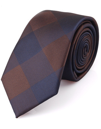 Luxusná pánska viazanka s hnedo - modrým vzorom