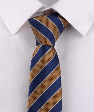 Luxusná pánska viazanka s modro - zlatým vzorom