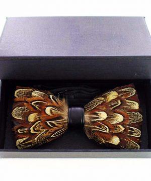 Luxusný pánsky motýlik z pierok, pomarančovo-žltý