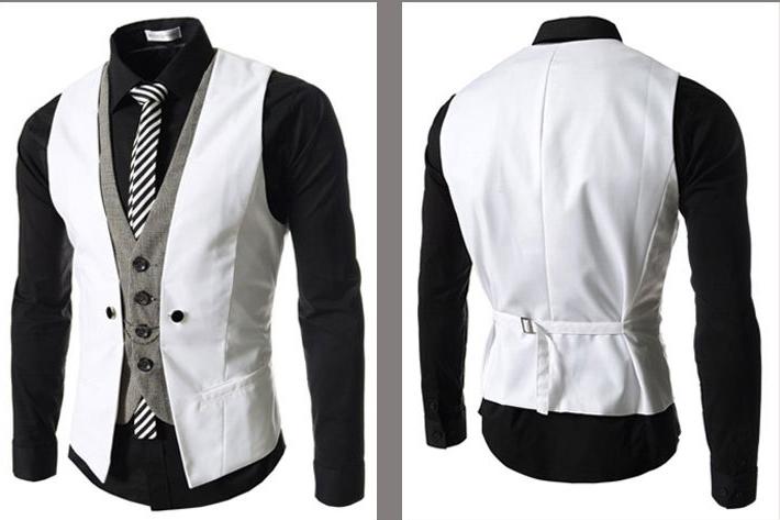 430001761 Kvalitná dvojitá pánska vesta ku obleku v bielej farbe. Kvalitná ...