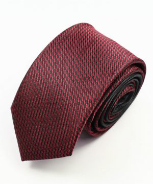 Luxusná pánska kravata v červeno - čiernej farbe