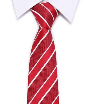 Kvalitná pánska kravata v červenej farbe s pásikmi