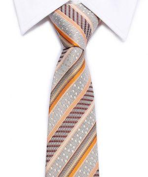 Kvalitná pánska kravata v sivej farbe s farebným vzorom