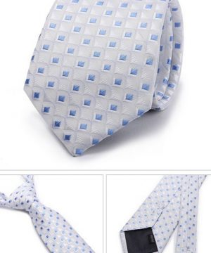Kvalitná pánska kravata v sivej farbe s modrými štvorčekmi