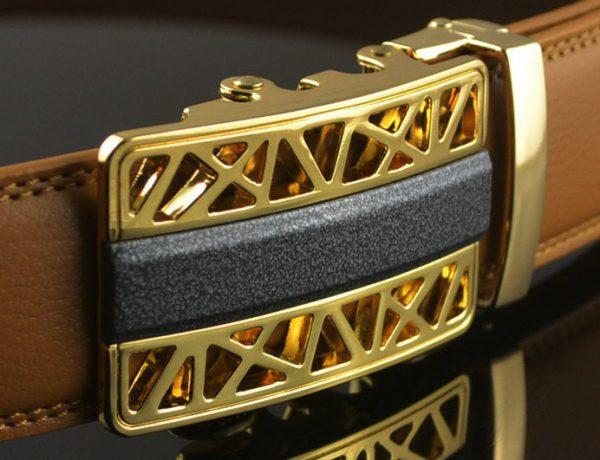 Luxusný pánsky opasok z pravej hovädzej kože, zlato hnedý