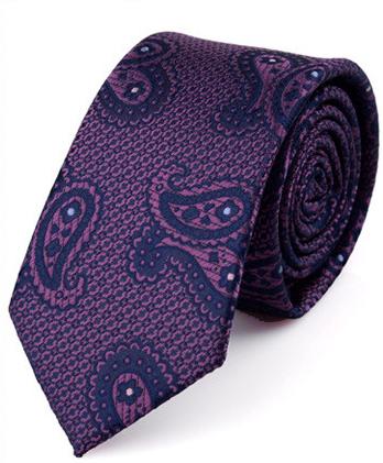 Kvalitná pánska viazanka so vzorom vo fialovej farbe