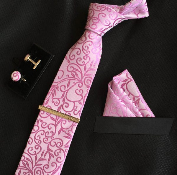 Veľká kravatová sada 03 - kravata+manžetové gombíky+spona+vreckovka
