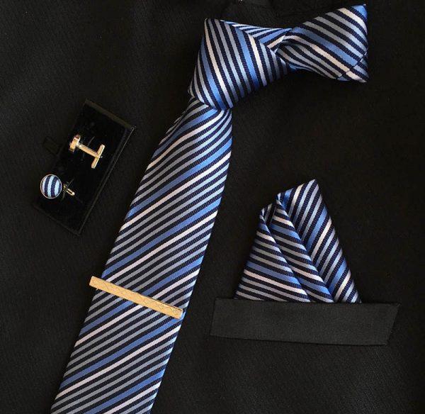 Veľká kravatová sada 04 - kravata+manžetové gombíky+spona+vreckovka (Kópia)