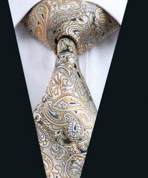 Hodvábna pánska kravata s luxusným zlato-sivým vzorom