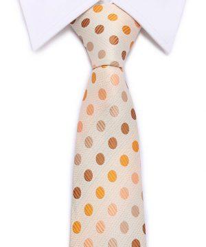 Kvalitná pánska kravata s pomarančovými bodkami