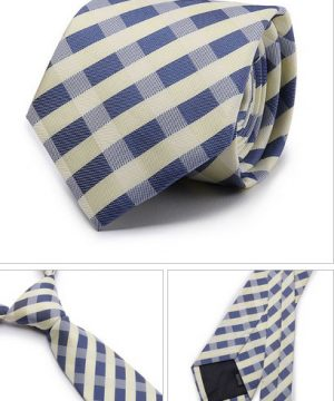 Kvalitná pánska kravata s modro-sivým vzorom