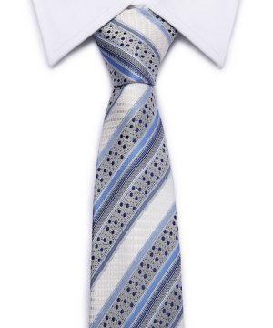 Kvalitná pánska kravata so vzorom v sivo-modrej farbe