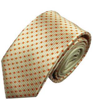 Luxusná pánska kravata v zlato - pomarančovej farbe so vzorom