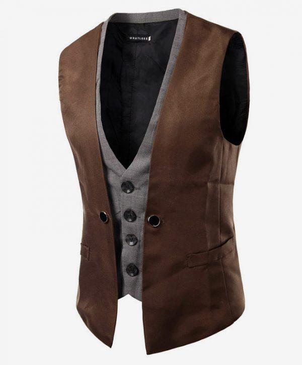 Luxusná dvojitá pánska vesta ku obleku v hnedej farbe