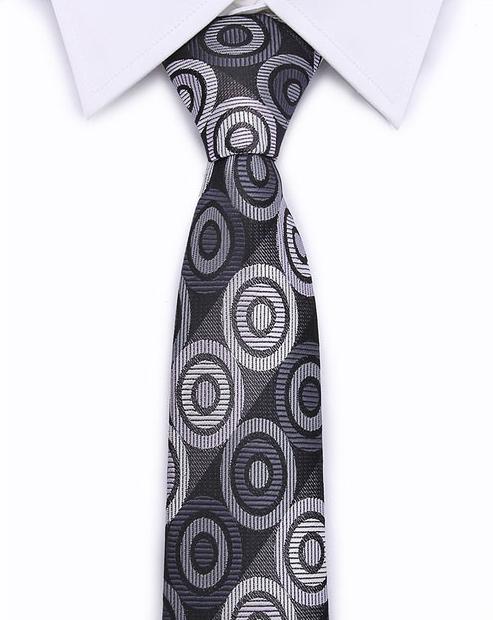 Kvalitná pánska kravata v sivej farbe s kruhmi