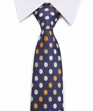 Kvalitná pánska kravata v modrej farbe s bodkami