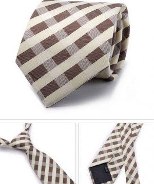 Kvalitná pánska kravata v hnedo - krémovej farbe