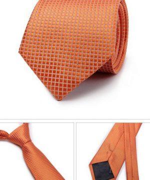 Kvalitná pánska kravata so vzorom v pomarančovej farbe
