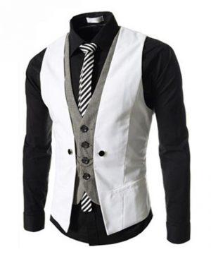 Kvalitná dvojitá pánska vesta ku obleku v bielej farbe