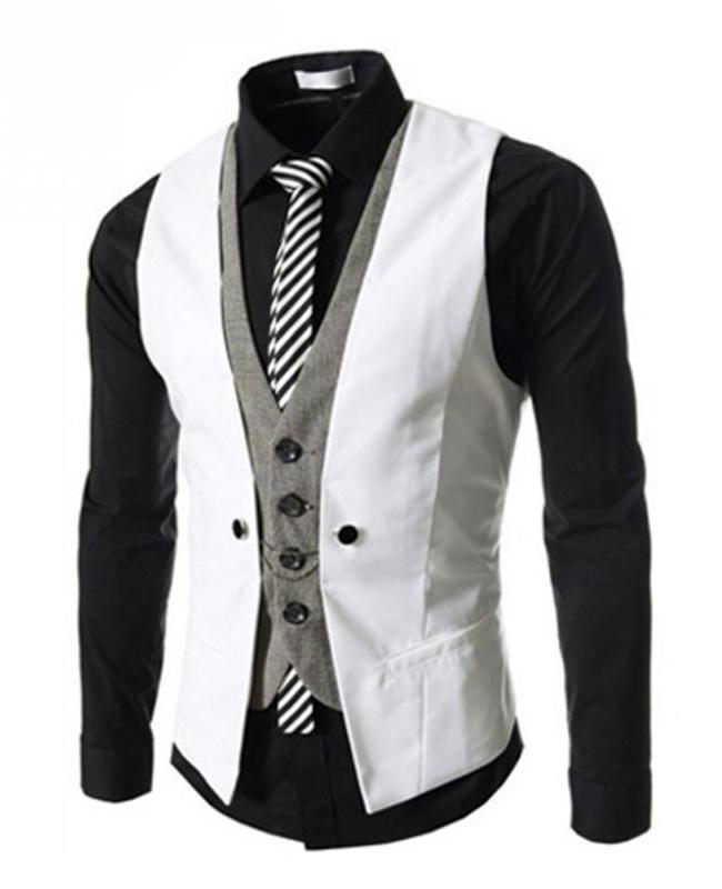 9d7a6c166 Kvalitná dvojitá pánska vesta ku obleku v bielej farbe