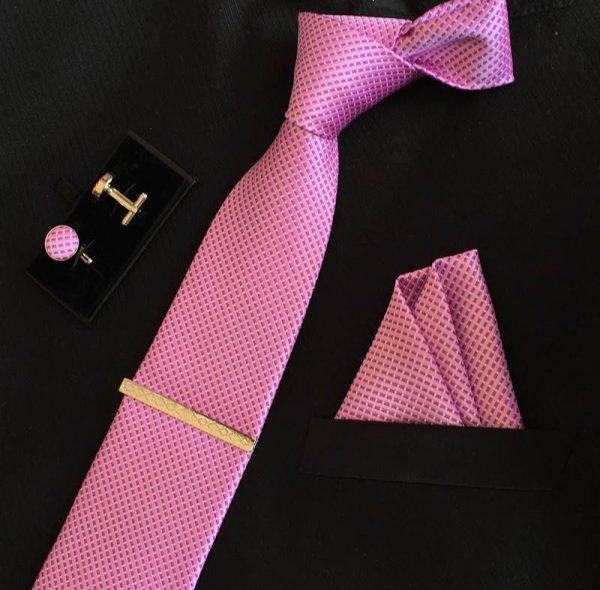 Veľká kravatová sada 02 - kravata+manžetové gombíky+spona+vreckovka