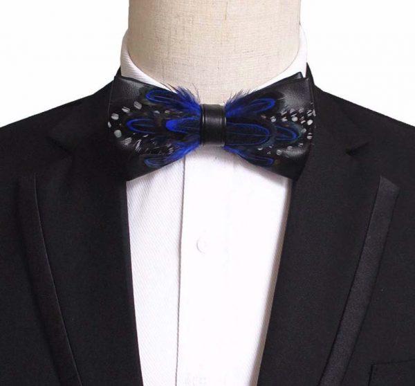 Luxusný pánsky motýlik z pierok, modro-čierny