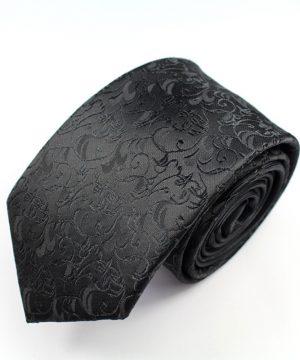 Luxusná pánska kravata v čiernej farbe s ornamentami