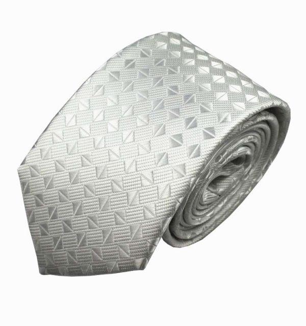 Luxusná pánska kravata v bielo-striebornej farbe - vzor kávové zrnká