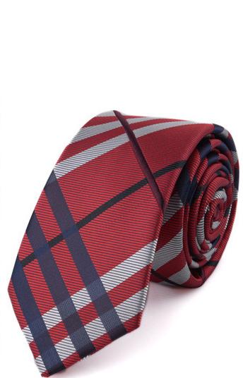 Luxusná pánska viazanka so vzorom v červenej farbe