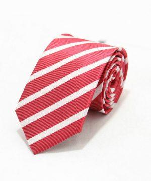 Moderná pánska viazanka v červenej farbe s bielymi pásikmi