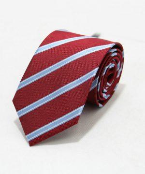 Moderná pánska viazanka v červenej farbe s modrými pásikmi