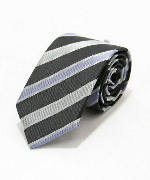 Moderná pánska viazanka v sivej farbe s pásikmi